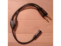 """Monster Y TRS Splitter 19"""" Cable Stereo 1 Female and 2 Male 1/4"""" TRS Mono. Four Available"""