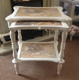 Marble occasional table painted in antique white Can deliver free locally