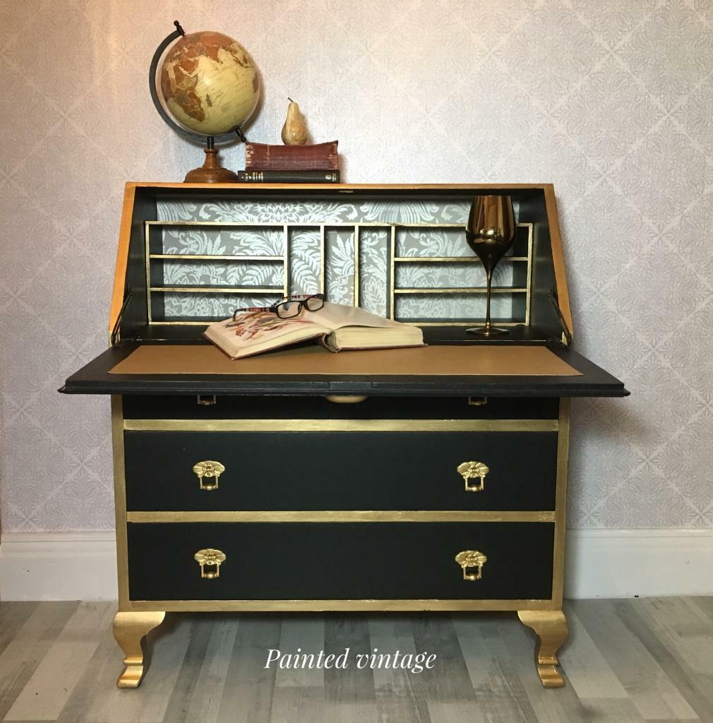Vintage Writing Desk Bureau Hand Painted In Black And Gold