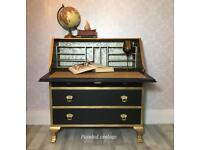 Vintage writing desk/bureau hand painted in black and gold