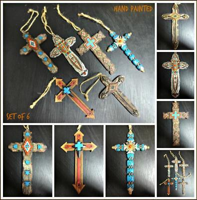 Western Country Rustic Tribal Aztec Cross Christmas Ornament Decor Gift Set of - Western Christmas Decor