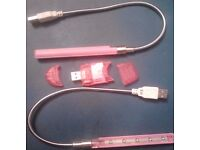 New 2 Pink 5 LED USB Laptop PC Lights+1 Pink USB 2.0 SDHC SD Memory Card Reader.