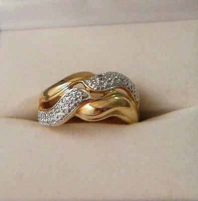 ROSS SIMONS Diamond Accent Twist Gold Vermeil Sterling Silver Dome Ring Size -