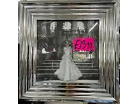 Lady in white dress picture with liquid art, crystals and chrome step frame