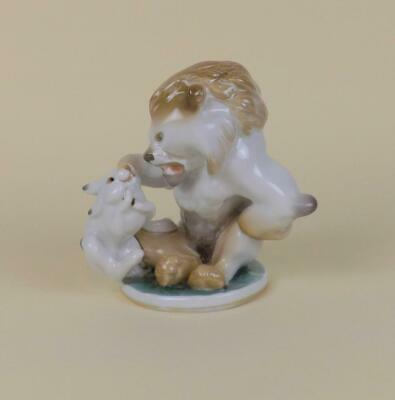 Antique Russian Soviet Lomonosov Figurine By LFZ Lion & Rabbit Very Rare.