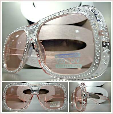 INSANE RETRO Style Party Club Rave PIMP SUN GLASSES Bling Square Pink Frame Lens
