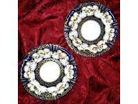 CROWN STAFFORDSHIRE Antique/Vintage Pair Cabinet Tea Side Plates Cobalt Blue Floral Gold Gilded