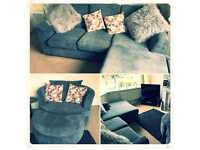 3 piece sofa with swivel chair and foot rests as well as buffet storage box
