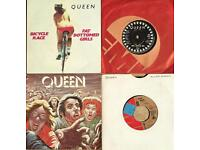 4 Queen 7 inch singles 2 pic sleeves 2 plain