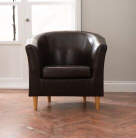 Dunelm Brown Faux Leather Tub Chair