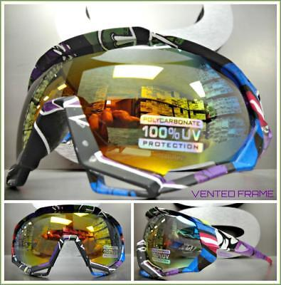 Oversize 90s RETRO SPORTY Wrap Around Style SUN GLASSES GOGGLES Gold Mirror (Wrap Around Goggles)
