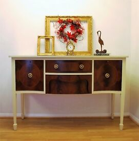 Edwardian Sideboard - Annie Sloan Old Ochre & Old white - Buffet Beautifully Hand Painted & Waxed