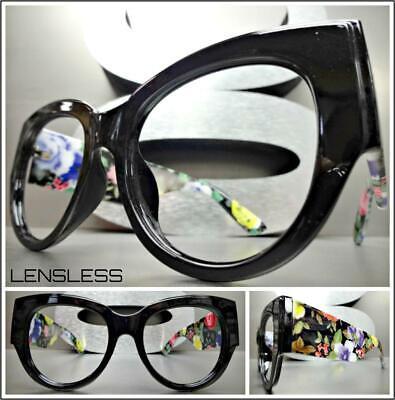 Neu Übergröße Übertriebener Blumenmuster Cat Eye Glasloses Brillen Rahmen nur No