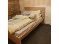 Ikea Malm Oak Double Bed & mattress