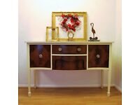 Edwardian Sideboard / Buffet - Annie Sloan Old Ochre & Old white - Hand Painted & Waxed