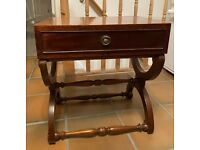 Bevan Funnell Reprodux Mahogany Bow Legs Bedside Cabinet Lamp Table with Drawer