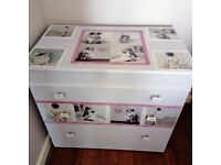Newly upcycled Vintage /Shabby Chic Chest of drawers. Chalk paint, decoupage, lace trims.