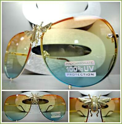 OVERSIZED Vintage LUXURY Retro Style SUNGLASSES Gold Metal Frame Huge (Bumblebee Sunglasses)