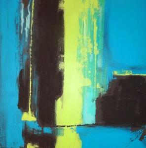"ABSTRACT PAINTING 'PRIEST' 24x24"" Acrylic Gallery Wrapped Canvas OAKVILLE 905 510-8720 Blue Green Black  V.Koudelka"