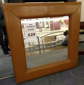 Mirror Faux Leather Frame Tan Square