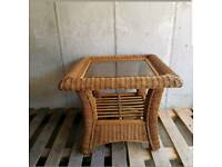 Wicker glass top table