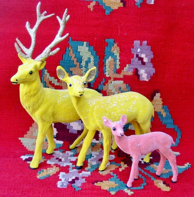 Cody Foster Christmas Pretty Flocked Reindeer Family Set 3 Yellow Pop of Color