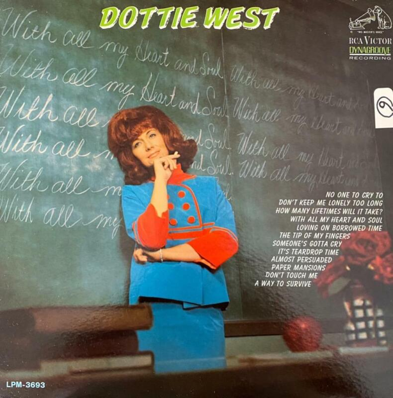"""DOTTIE WEST HAND SIGNED AUTOGRAPH LP ALBUM """"WITH ALL MY HEART"""""""