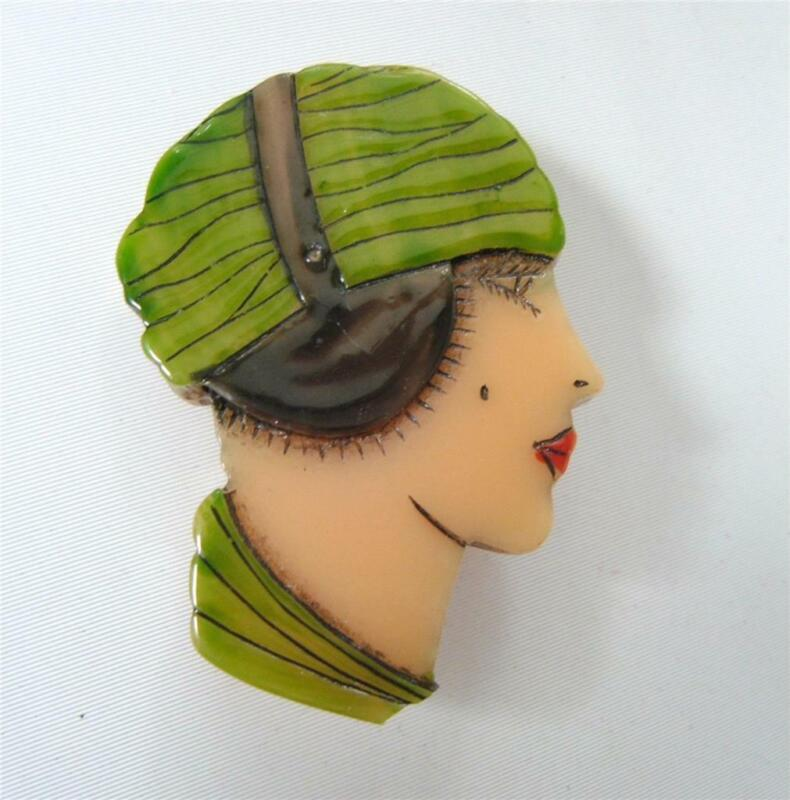Art Deco Flapper Girl Head Face Brooch Pin Catalin Hand Carved Overdyed Acrylic