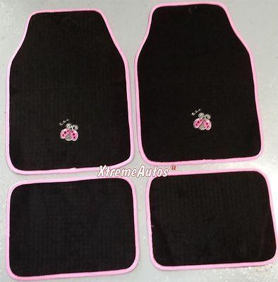 Universal Non slip Full Carpet Pink Ladybug Car Mats 4PCE For All Models