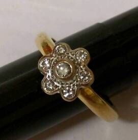 9ct gold and diamond flower ring