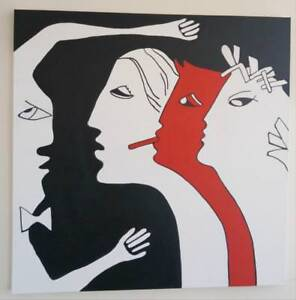 "Oakville 36x36"" INTERVENTION New Painting Abstract Art PEOPLE Humans RED WHITE Black by Val Koudelka Large Square Thick"