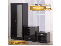 BLACK MIRRORED HIGH GLOSS BEDROOM FURNITURE SET - Wardrobe, chest & bedside cabinet