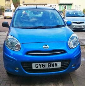 Nissan Micra 2011-year Blue low mileage 5 door petrol, Quick SALE
