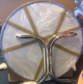 New Frovi Heavy White Round Circular 110cm Dining Cafe Restaurant Quality Chrome Cross Legs