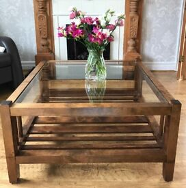 Coffee Table Square with Glass Top, Laura Ashley Garret. £100 ONO