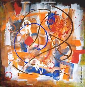 "Oakville 24X24"" CRIBBAGE / valkoudelkaart@outlook.com / Original abstract art painting / GTA / Orange brown blue NEW"