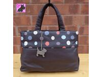 RADLEY Dark Brown Leather Tote Bag with Spotty Plinth *Excellent Condition*