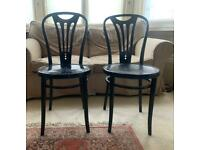 Black wooden chairs