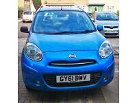 Nissan Micra 2011-year Blue low mileage 5 door petrol, Quick SALE