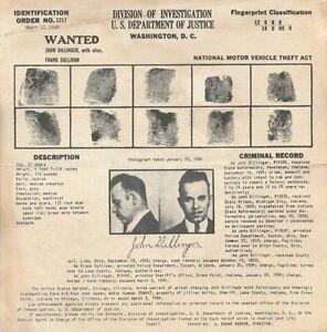 Depression Era Gangster John Dillinger 1934 Wanted Poster Bank Robber Photo