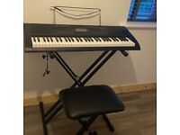 Casio electric keyboard, stand and stool