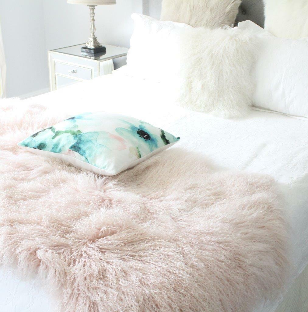 PINK REAL FUR BLANKET THROW MONGOLIAN SHEEPSKIN TIBETAN