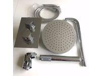 Chrome Shower Set inc concealed valve, rainfall shower head, arm, handset, hose and outlet elbow