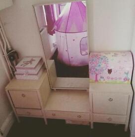 Dressing table, cream, full length mirror, drawers, shabby chic, Annie Sloan