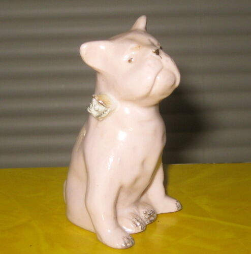 VINTAGE / ANTIQUE PINK CERAMIC BULLDOG WITH GOLD ETCHING / FIGURINE DOG