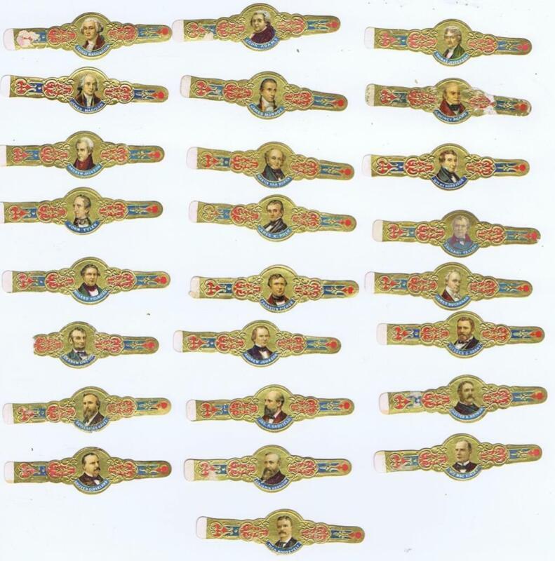 25 Presidential complete  cigar band set Washington to Roosevelt cc 1905    #199