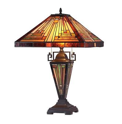 """Tiffany Style Stained Glass Mission 3 Light Double Lit Table Lamp 16"""" Shade New"""