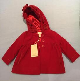 Monsoon girls red coat never been worn age 6-12 months