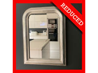 NEW JOHN LEWIS Silver Mirror Arch Wall Fireplace Shabby Style Mirror Easy Hang VGC RRP £175