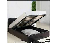 Black lather faux storage bed